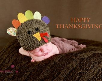 Crochet Newborn Turkey Hat - Made to Order - Photography Prop
