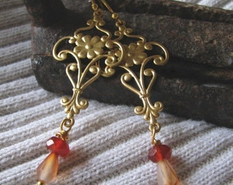 gold and amber dangle earrings