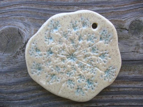 Creamy Sand Queen Anne's Lace Ceramic Pendant