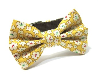 Dog Collar Bowtie...Dog Bowtie- Golden Flower Blossoms