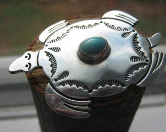 Navajo Southwestern Vintage Sterling Silver Turtle with Turquoise Broach Pendant Signed A Begaye