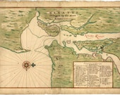 Antique New York Map 1639 Manhattan