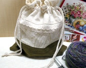Knitting project bags- Sock Bag -Drawstring - sb576 -   beige & brown patch