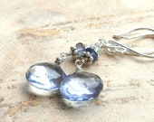 Blue Gemstone Earrings Mystic Quartz, Sterling Silver with Iolite & Aquamarine