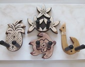 Tropical hand carved ukulele wall mount hangers, 4 pack Hawaiian style