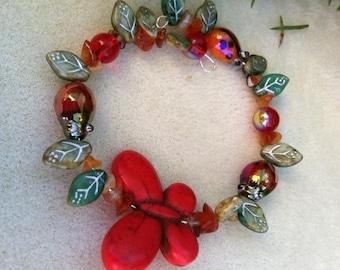 Red Butterfly Garden Bracelet, Butterfly Jewelry, Carnelian Bracelets