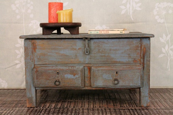 SALE Vintage Table Box Two Drawer Table  With Lid