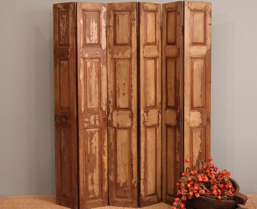 FREE SHIPPING Room Divider Screen Old Wood Folding Rustic Door