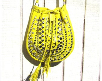 Meyer lemon yellow lamb skin studded cross body purse