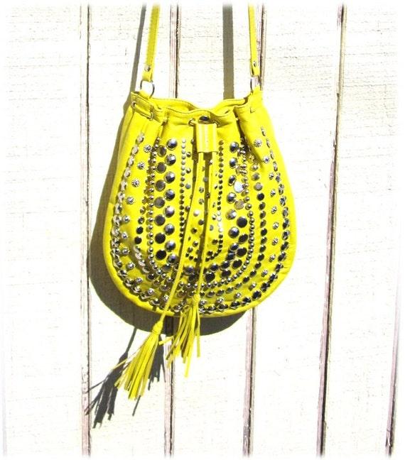 Meyer lemon yellow lamb skin studded cross body purse