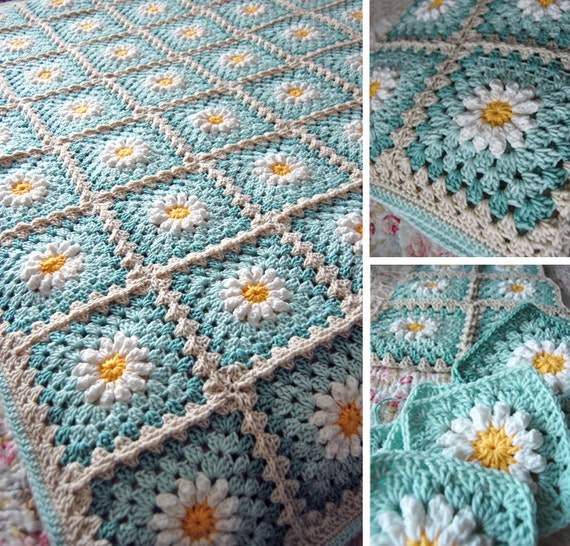 RESERVED Custom Order - Daisy Flower Granny Square Afghan Blanket Throw