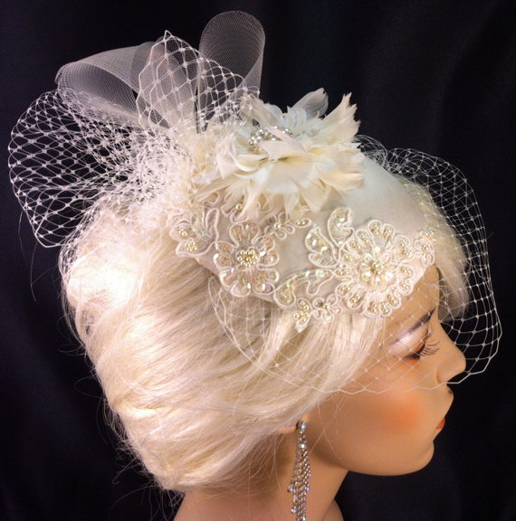 Birdcage Veil, Bridal Hat, Ivory, Feather Fascinator, Wedding Head Piece, Veil, Dupioni Silk,  SHIP READY