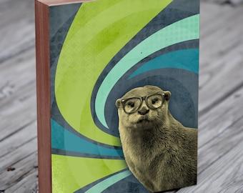 Sea Otter Art - Otter in Glasses - The Inquisitive River Otter - Otter Art Print - Wood Block Art Print