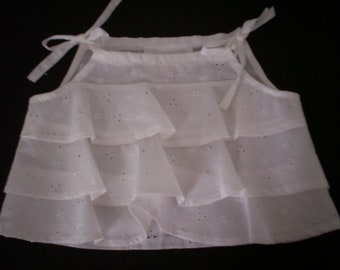White Cotton Eyelet Embroidery Ruffled Crop Top - Sz M, L, XL