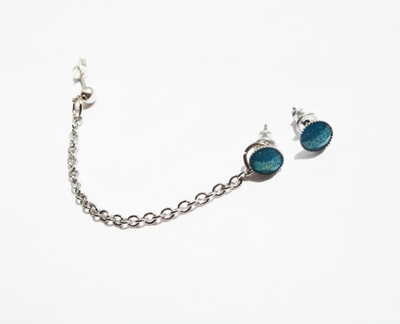 Ear Stud with Chains Silver Blue Studs Ear Wrap Stud Cartilage