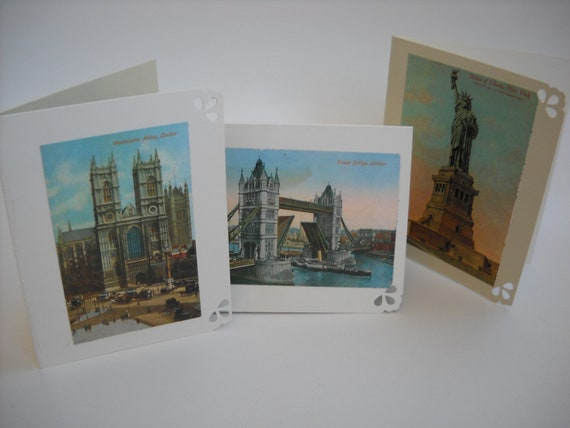 Vintage Photo Note Cards, travel, blank, mini cards