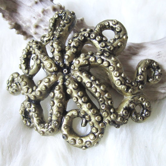 Tentacles hair clip - Octopus - Squid - Cephalopod - Steampunk gold / brass color