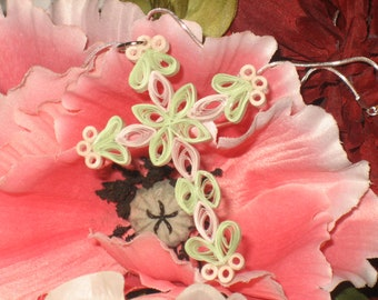 Quilled Cross Necklace, Mint Green and Pink, Sterling Chain Included