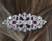 ruby red siam red crystal rhinestone silver bridal hair comb art deco vintage inspired wedding headpiece hair combs accessories