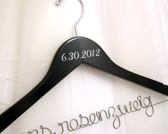 Personalized Bridal Hanger with Date of Wedding Added, Painted - Suspended Moments