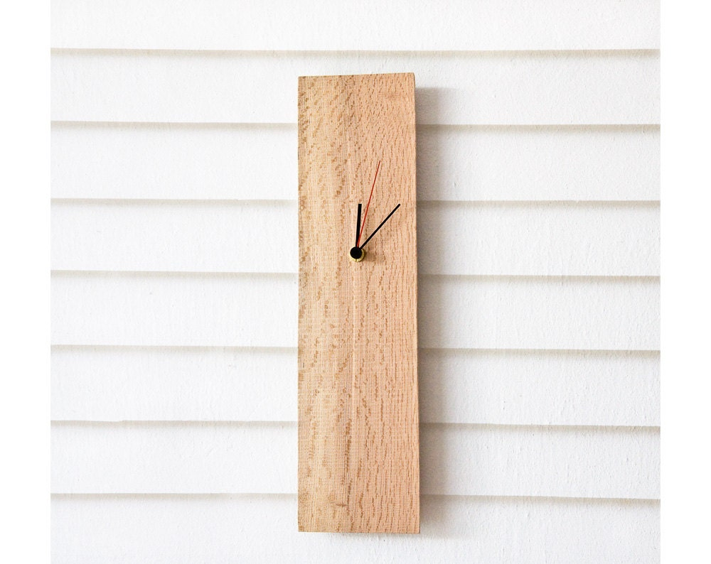Modern wall clock from salvaged wood rectangular wooden clock zoom amipublicfo Choice Image