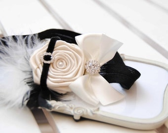 Retro Chic Headband with Pearl White Rose Posh with Velvet Bow and Pearls  Rhinestones