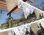 Burlap & White LACE Fabric Wedding Decoration Bunting Banner 15 Feet of Flags Garland Cottage Chic