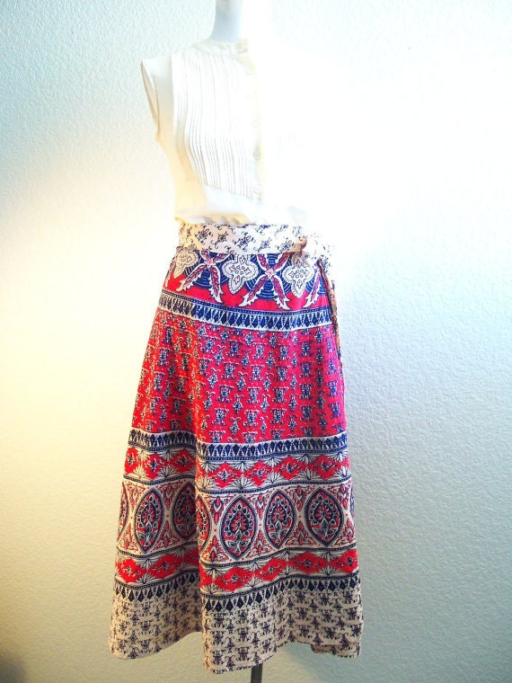 vintage 70's  India one size fits all cotton red creme and navy blue wrap skirt ethnic batik