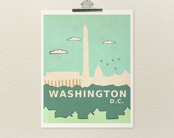 Travel Theme Nursery Art, Baby Shower, Kids Room Art Print, Children Illustration, Typographic Print, City Skyline, Washington DC Poster