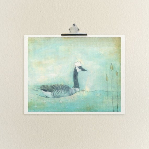 Lucy // Illustration, Painting, Reproduction, Giclee, Goose, Nature, Landscape, Lake, Pond, Drawing, Fine Art Print