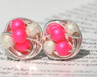 Neon Pink / Star Dust - Mix It Up Series- Swarovski Glass Pearl and Stardust bead Wire Wrapped Stud Earrings