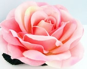 Warm Pink Silk Rose / Life-Like Hair Clip Bridal Wedding Accessory - ANGELIQUE -