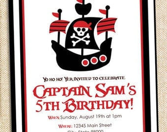 Pirate Birthday invitation - digital file