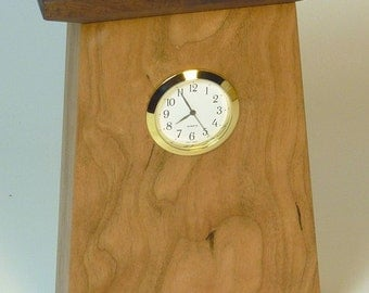 Small Craftsman-Style Clock in Cherry and Walnut with Quality Seiko Movement