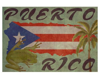 PUERTO RICO 1F- Handmade Leather Passport Cover / Travel Wallet - Travel Art