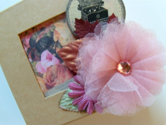 Gift Box Decorated with 5x5 Mini Album Inside - Unique - Vintage Look/Style
