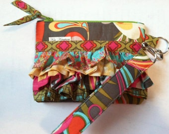 Paper Pattern for Ocean Ripples by Kris Kreations, Ruffled Wristlet Purse