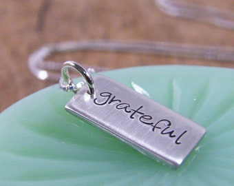 necklace hand stamped silver charm dog tag style grateful matte finish