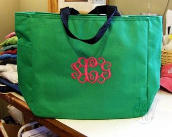 Monogram Tote Bag with Embroidery of Monogram Initials Teacher Student College Gym Bridesmaid Bachelorette Mardi Gras