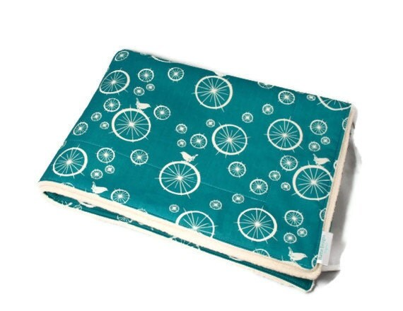 Organic Sherpa Baby Blanket in Turquoise with Birds and Bubbles