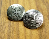 Norwegian pewter buttons viking motives 2pcs set