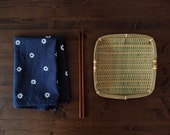 "Made to order : Indigo ""Etoile"" Feedsack Tea Towel - White on Navy Indigo & Cochineal Natural Dyed Cotton - knifeinthewater"