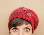 Red slouchy hat - soft red crochet beanie - SAMPLE -
