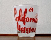 California Glass Jigger  Barware Souvenir Tumbler Red Vintage Mid Century