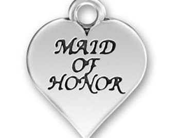 Maid of Honor Charm - Pewter