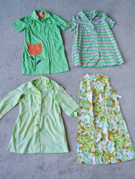 Lot of FOUR Vintage 1960's Spring Summer DRESSES L XL