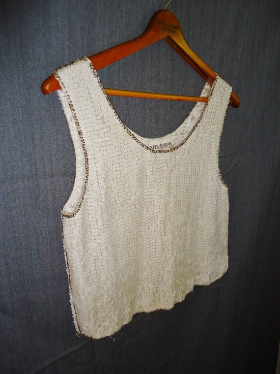 White Sequin Beaded Vintage 1980's Womens Shirt Top Tank Camisole S