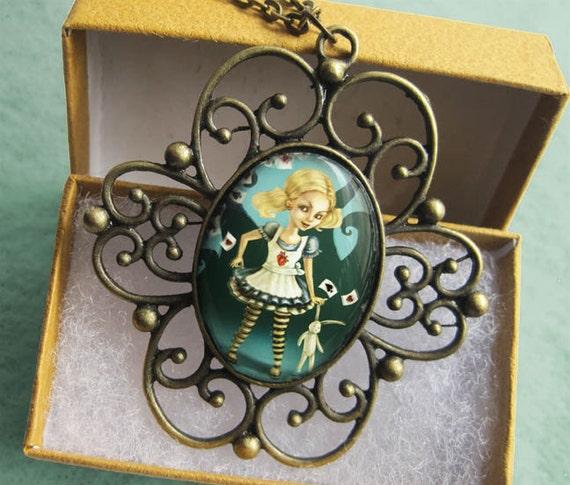 ALICE IN WONDERLAND Necklace -Cameo GlassBronze Pendant - Fairytale Art Jewelry