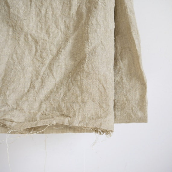 Yardage - 100% linen fabric plain putty natural colour washed by the yard for sewing