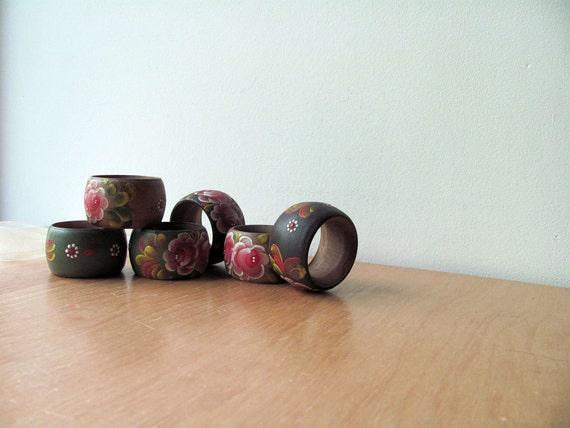 Rosemaled Wood Napkin Rings Fall Colors Tableware Lovely, Free Shipping